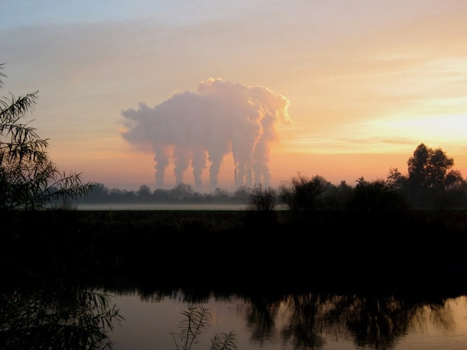 A cloud in the shape of a pig with six legs over West Burton Power Station, viewed from Gainsborough, Lincolnshire, UK.