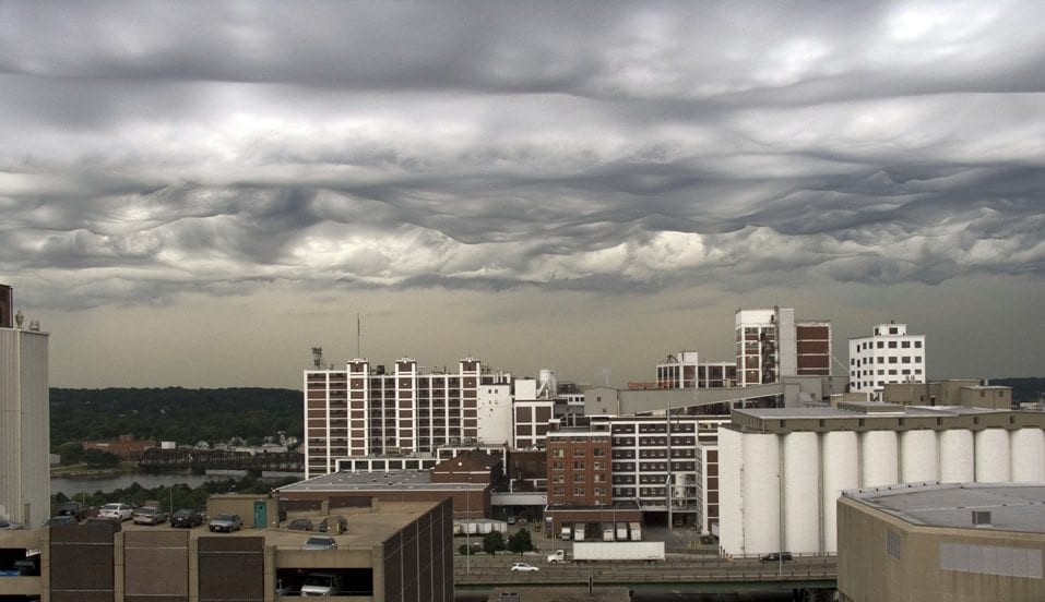 Asperitas clouds photographed from a 12th floor office building in downtown Cedar Rapids, Iowa.