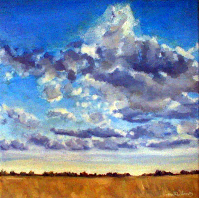 "Floodplain Sky, oil on canvas 10"" x 10"" © Emilie Lemay, Winnipeg, Canada"