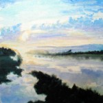 "Misty Sunrise, oil on canvas 10"" x 10"" © Emilie Lemay, Winnipeg, Canada"