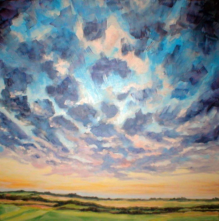 "Premier Sky, oil on canvas 30"" x 30"" © Emilie Lemay, Winnipeg, Canada"