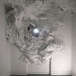 "Eye, 10' H x 10'4"" W, paper, India ink, tacks, paper clips © Mia Pearlman, Brooklyn, New York, USA"