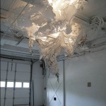 Gyre, 7' H x 11' W x 13' D, paper, India ink, paper clips, tacks © Mia Pearlman, Brooklyn, New York, USA