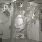 Nigh, 12' H x 10' W x 9' D, paper, India ink, paper clips, tacks © Mia Pearlman, Brooklyn, New York, USA