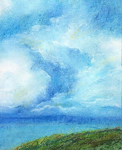 Sea and sky, pastel, © Ann Amberg, Whidbey Island, Washington, USA