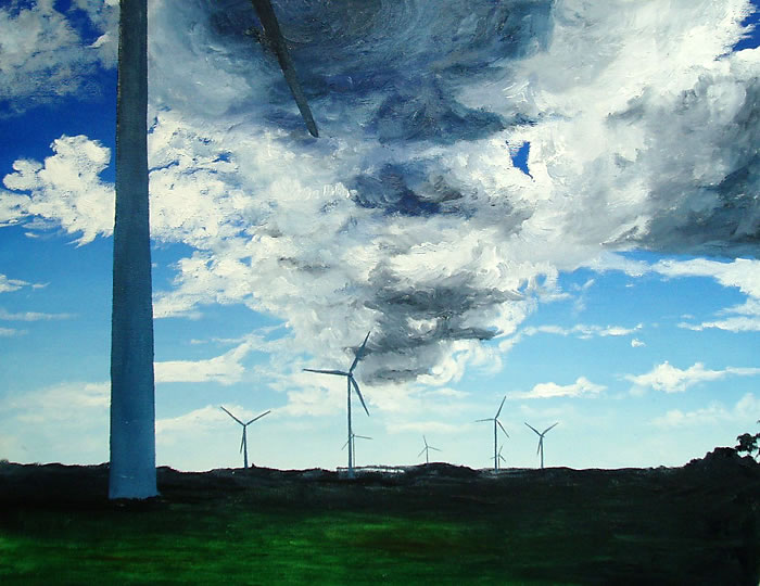 Les Eoliennes en Bretange, 18ins x 14ins, oil on canvas board © Hannah Price, Liverpool, UK