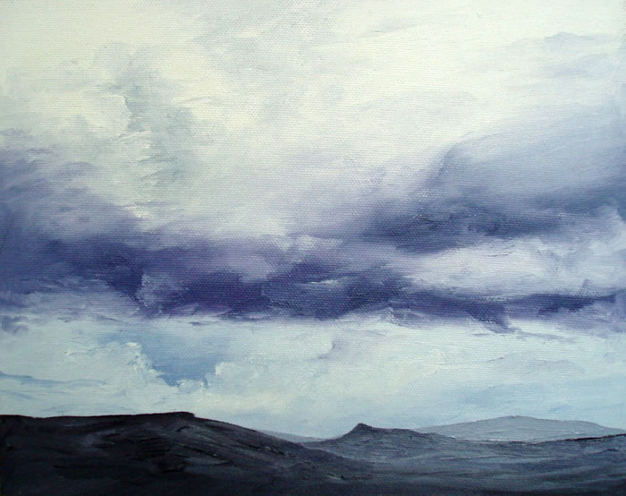 Sky over Mam Tor, 10ins x 8ins, oil on canvas board © Hannah Price, Liverpool, UK