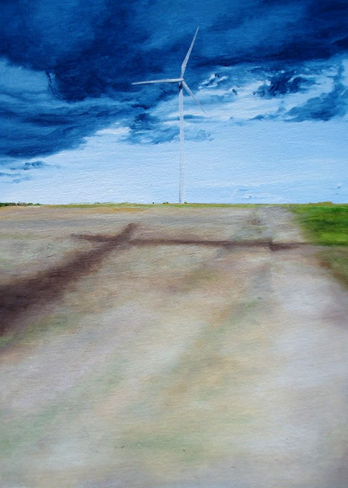 Wind Turbine in Finistere, 10ins x 14ins, oil on canvas panel © Hannah Price, Liverpool, UK