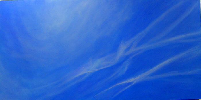 Sky x 7 May 31, 2007 14.09, acrylic on canvas, 24 x 48 inches, © Suzan Scott in Cheshire, CT, US