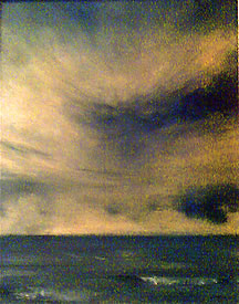 Sepia Sea, oil on canvas, 8 x10 , © Christopher Volpe, Newmarket, New Hampshire, USA