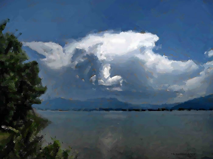 Clouds over Lake Chiemsee, oil and crayon © Thomas Dossler in Bavaria, Germany