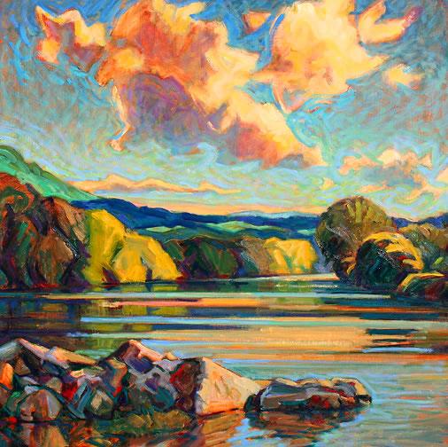 "River Rocks 2, oil on panel 24\ "" x 24 "" © Christopher Stephens, Front Royal, Virginia, USA"