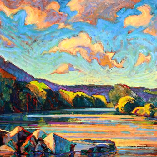 "River Rocks 3, oil on panel 24 "" x 24 "" © Christopher Stephens, Front Royal, Virginia, USA"
