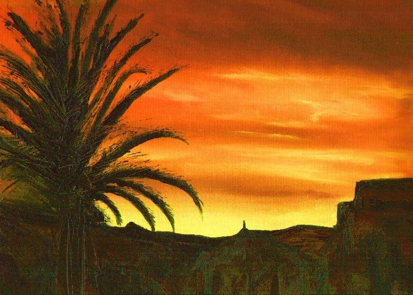 Palm Tree in Red Sky 2 © Gordon Johnson