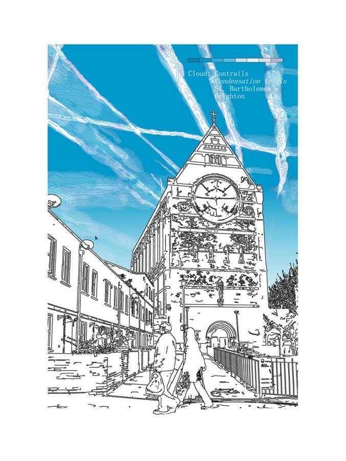 contrails over st bartholemews church brighton © Chris Snow