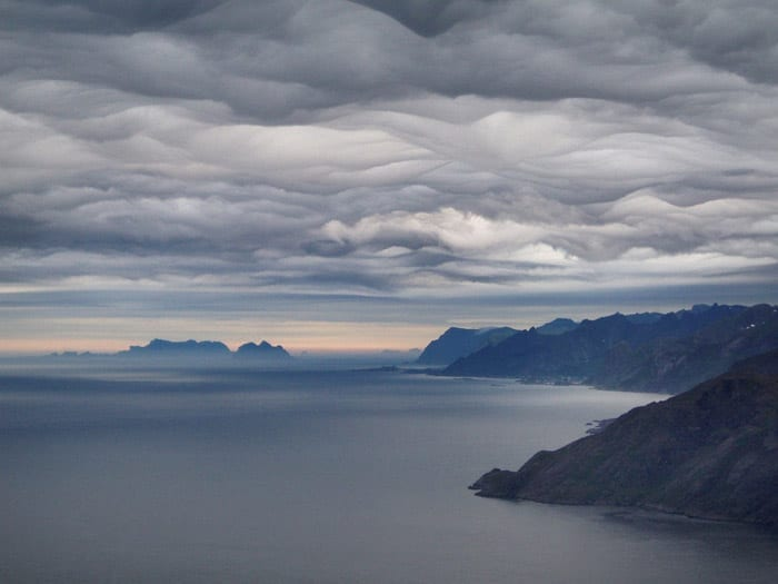 Asperatus clouds over the Lofoten Islands, Norway. © Ragnhild M Hansen