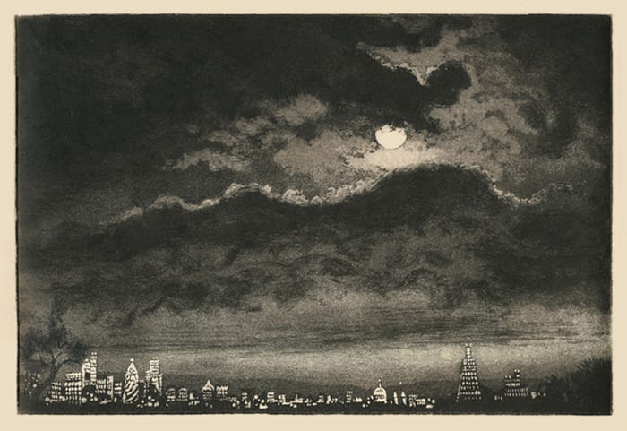 London Sky with Clouds and Moon Etching © Sally Platt