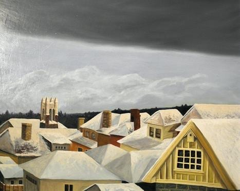 rooftops with cloud bank © Karen Larson