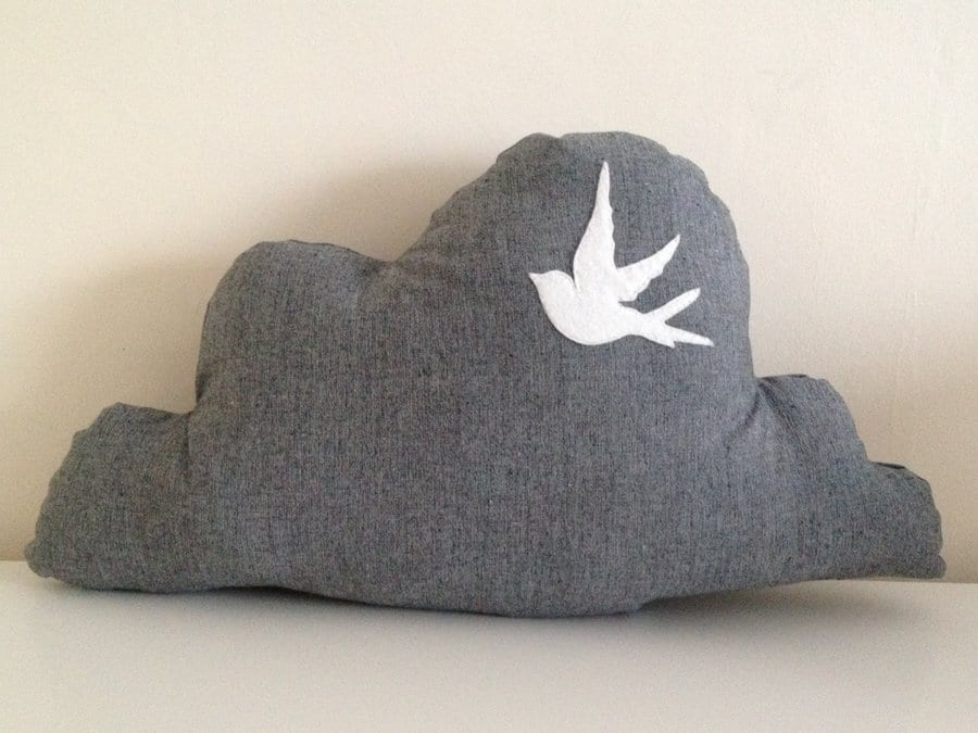 Cloud Cushion with Bird © Claire Halson