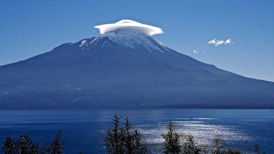 A cap cloud forms over Osorno, a volcano in Los Lagos, Chile