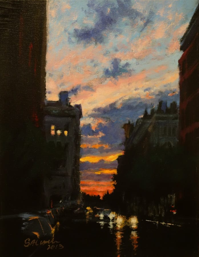 Sunset after a Summer Storm, Chelsea, 2013 oil on canvas panel 11x14 © Pete Salwen