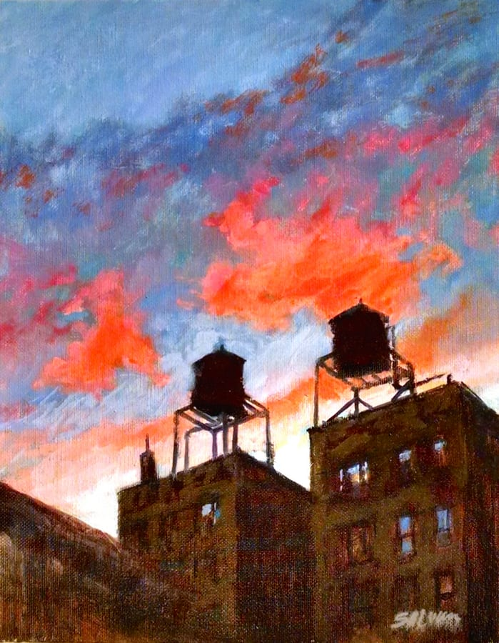 Water Towers at Sunset No. 1 © Pete Salwen
