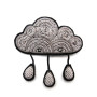 Hand-embroidered cloud brooch with raindrops