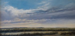 Weather Clouds over Cape Cod Marsh / 8 x 16 / oil on linen /  Materese Roche