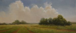 Backlit Clouds on ByOak Farm, Oil on Linen,  8 x 17 by Materese Roche