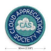 'Cloud Appreciation Society' embroidered patch (dimensions)