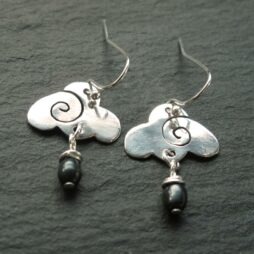 Silver Raincloud Earrings with Freshwater Pearls