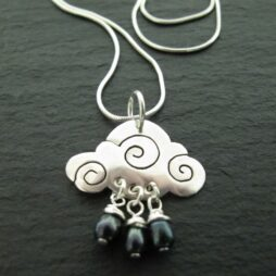 Silver Raincloud Necklace with Freshwater Pearls