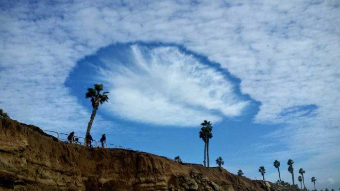 A fallstreak hole over Los Angeles, US.