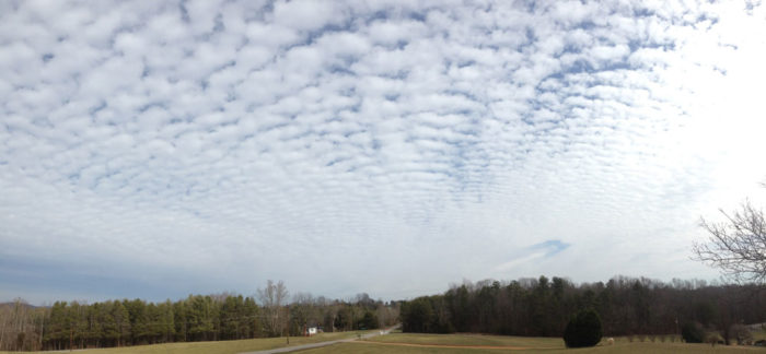 A distant fallstreak hole over northern Iredell county, North Carolina, US.