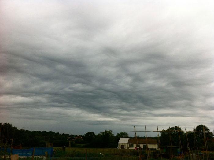 An asperitas formation over Fillongley, North Warwickshire, UK.