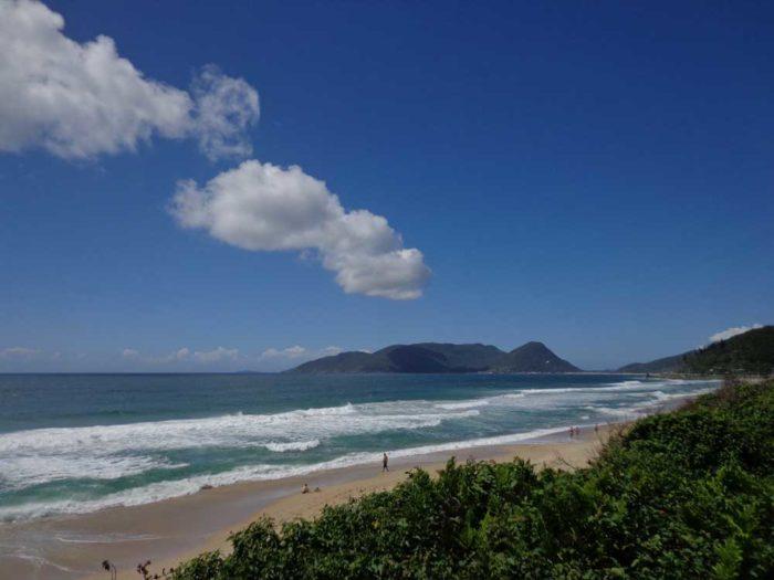 A fair-weather day at Morro das Pedras beach, Florianopolis, Brazil.