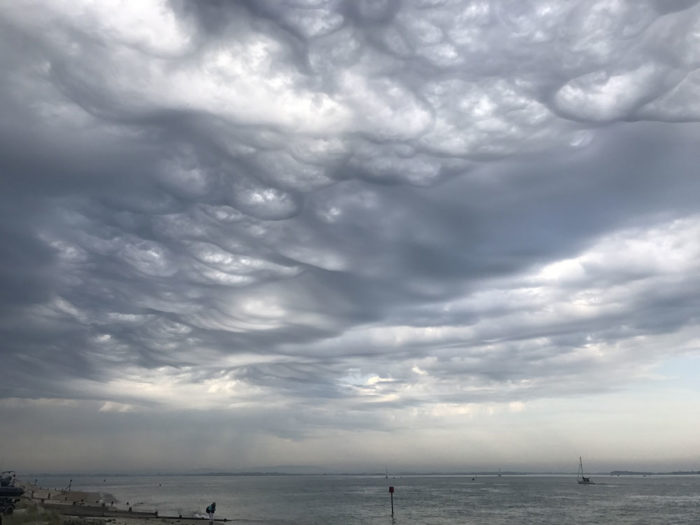 An asperitas formation in the mix over Hayling Island, Hampshire, UK.