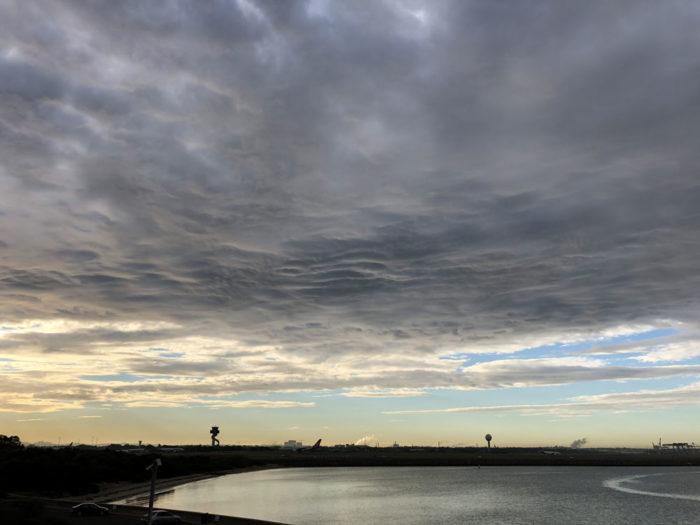 An asperitas formation over Kingsford Smith airport, Sydney, Australia.