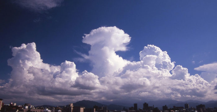 A convective mix over Atago Bridge, Fukuoka City, Japan.