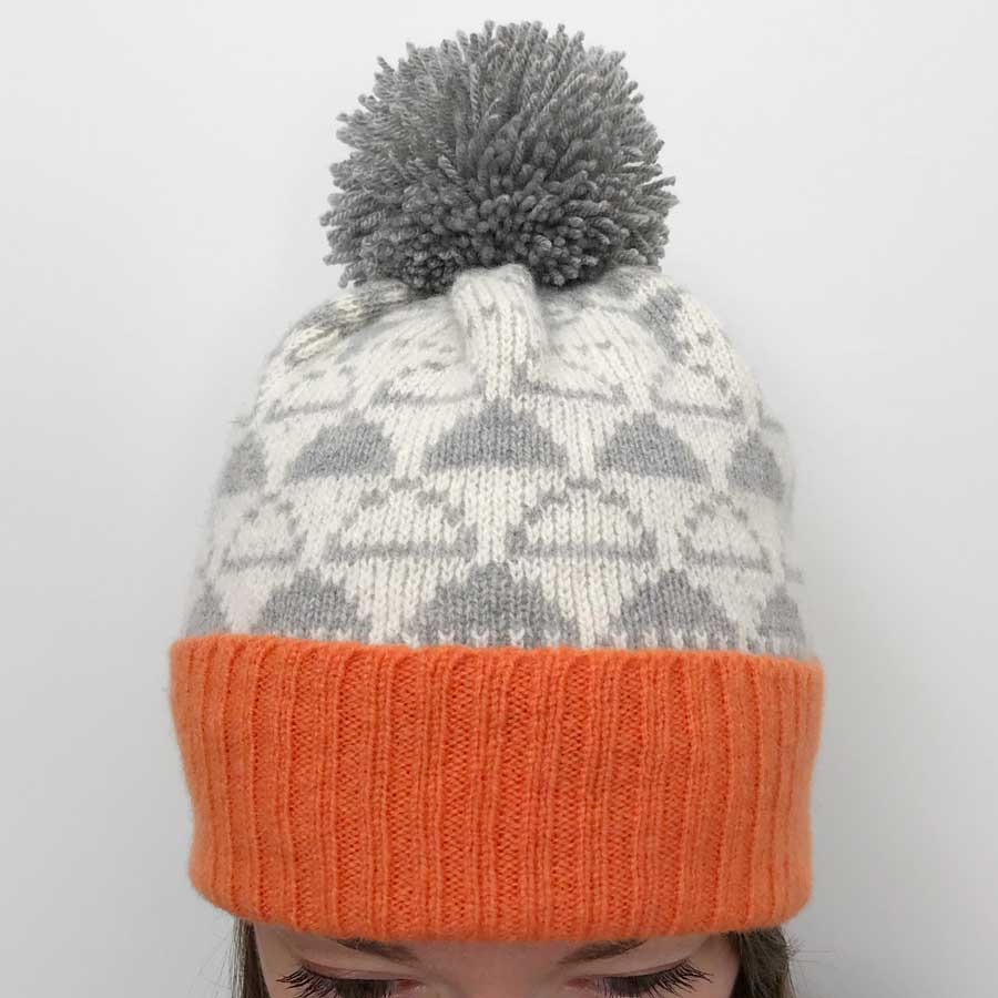 4076eae5468 Lambswool Bobble Hat (Orange and pale Grey) – Cloud Appreciation Society