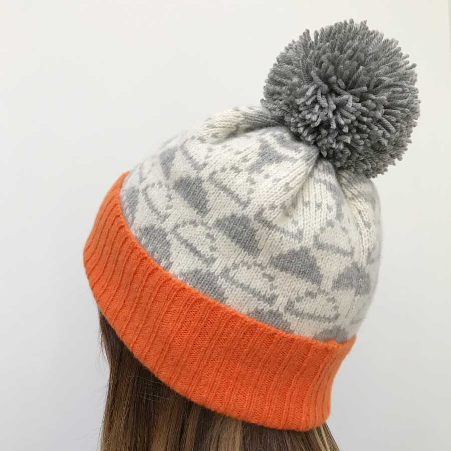 358e4e8fe0c Lambswool Bobble Hat (Orange and pale Grey) – Cloud Appreciation Society