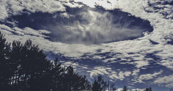 A fallstreak hole over Fredericton, New Brunswick, Canada.