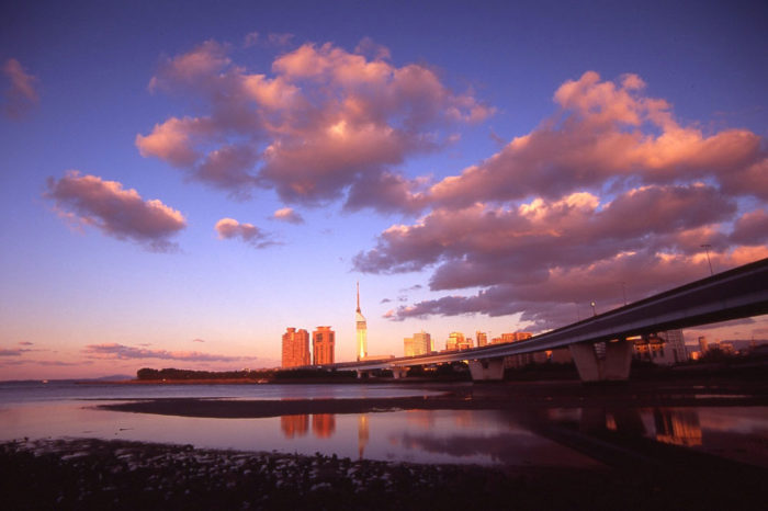 A Sunset over the Muromi River, Fukuoka City, Japan.