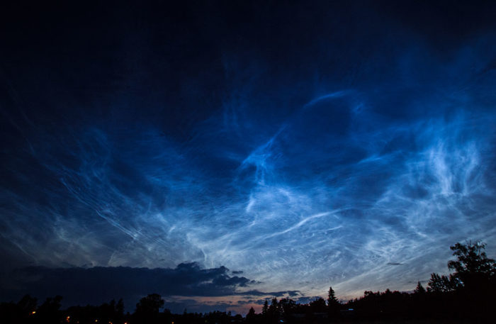 A display of noctilucent clouds over Schleiz, Thuringia, Germany.