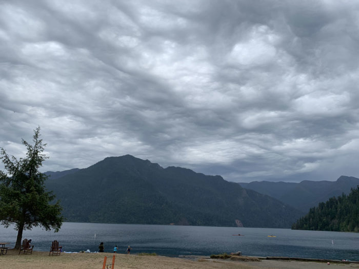 An asperitas formation over Lake Crescent in Washington State, US.