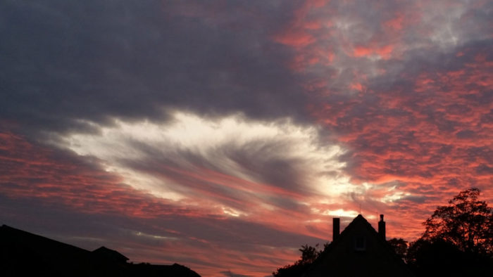A fallstreak hole at sunset over Detmold, Germany.