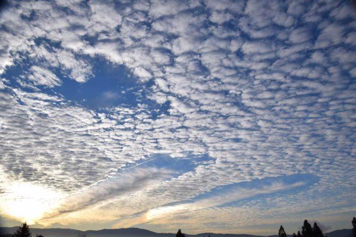 Fallstreak holes over Spokane, Washington, US.