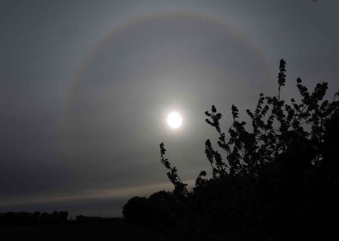 A halo over West Tisted, Hampshire, UK.