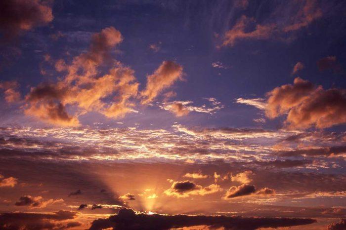 A Sunset over Momochi Seaside Park , Fukuoka City, Japan.