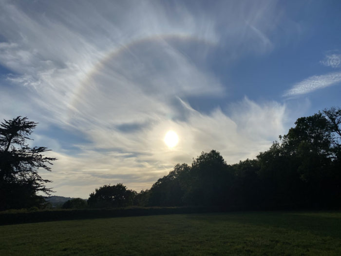 A section of halo at sunset over Wells, Somerset, UK.